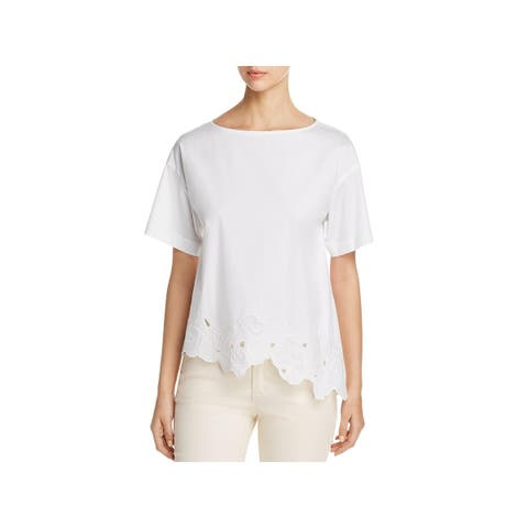 Lafayette 148 New York Womens Zuri Blouse Embroidered Short Sleeves - M
