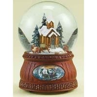 "6.5"" Animated and Musical Church with Sleigh Ride Christmas Glitterdome"