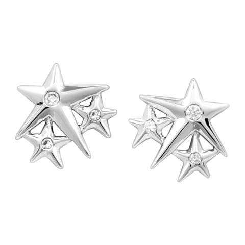 Chrysalis Charmed Rhodium-Flashed Brass Lucky Star Stud Earrings - White