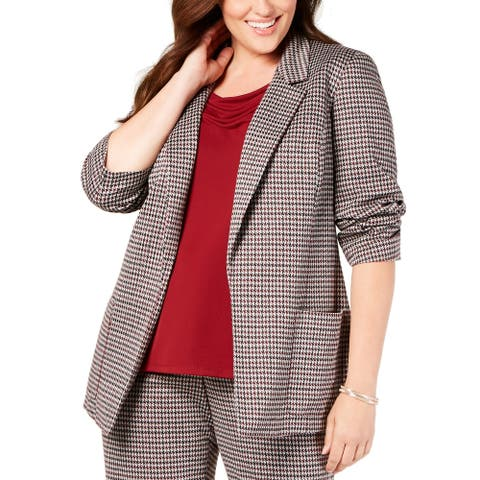 Nine West Women's Jacket Red Size 2X Plus Houndstooth-Print Boxy