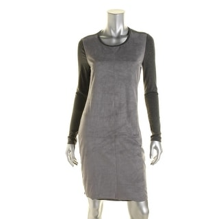 Vince Camuto Womens Faux Suede Long Sleeve Wear to Work Dress