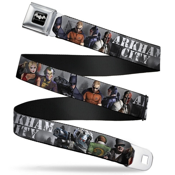 Batman Arkham City Logo Full Color Black White Arkham City 9 Character Seatbelt Belt