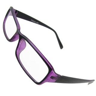 Women Rectangular Clear Lens Purple Black Plastic Rimmed Plain Glasses