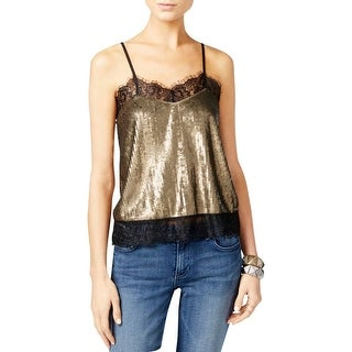Guess Womens Camisole Top Sequined Lace Trim