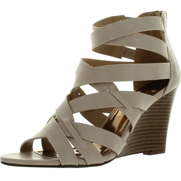 Styluxe Effy-18 Womens Back Zipper Strappy Dress Sandal Wedge