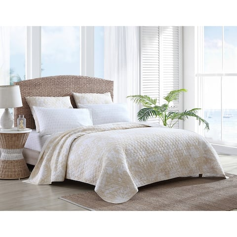 Tommy Bahama Lago Leaves Cotton Yellow Quilt