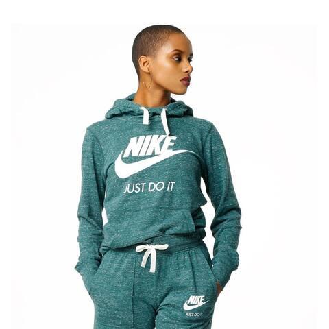 Nike Women's Sportswear Gym Vintage Hoodie Atomic Teal Sail Size Small - Green