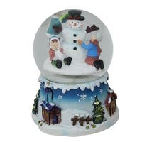 "5.5"" Snowman and Children Musical Swirling Christmas Snow Globe Glitterdome - White"
