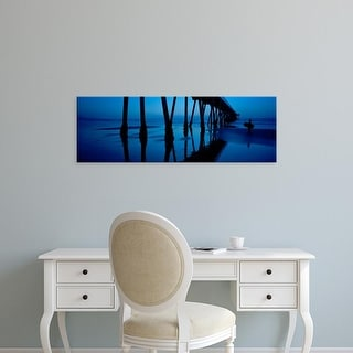 Easy Art Prints Panoramic Image 'Silhouette of a pier, Hermosa Beach Pier, Hermosa Beach, California, USA' Canvas Art