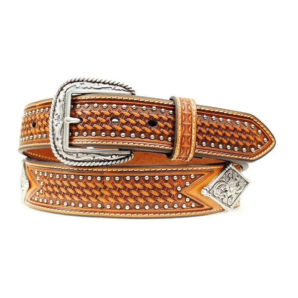 Ariat Western Belt Mens Diamond Concho Studs Basket weave