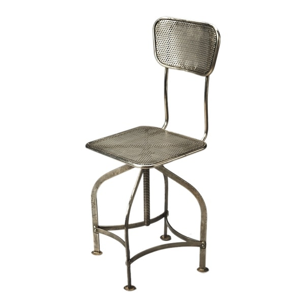 Modern Industrial Chic Iron and Steel Swivel Chair in Metalwork Finish - Gray