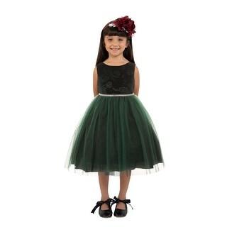 Kids Dream Little Girls Hunter Green Velvet Tulle Christmas Dress