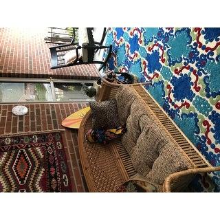 Indoor/Outdoor Luka Navy Damask Rug - 7'10 x 10'8