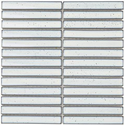 """Glazed Porcelain Mosaic Tile Sheet Sevilla 6""""x1"""" Finger Glossy White"""