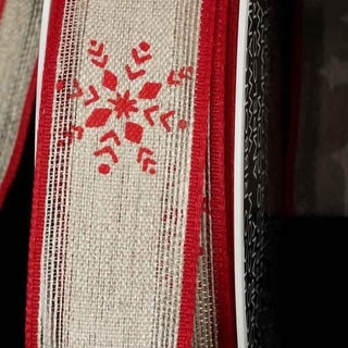 """Red Snowflake Print Linen Wired Craft Ribbon 1.25"""" x 16 Yards"""