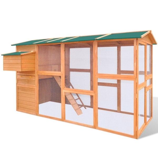 Shop Vidaxl Chicken Coop Hen Poultry House Cage Hutch Run Nest Solid