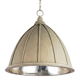Currey and Company 9149 Fenchurch 1 Light Wrought Iron Pendant with Black Metal Shade - oyster cream / silver leaf