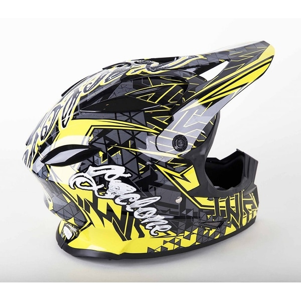Cyclone ATV MX Motocross Dirt Bike Off-Road Helmet DOT/ECE Approved- Yellow