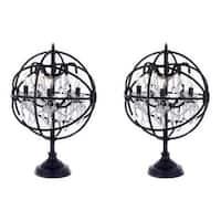 Foucault Orb Crystal Iron 5 Light Table Lamp Modern Contemporary-SET OF 2 - candelabra