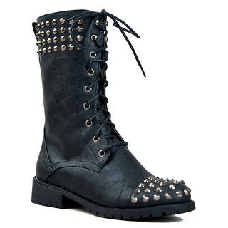 Harley 14 Womens Military Lace Up Studded Combat Boot - tan pu