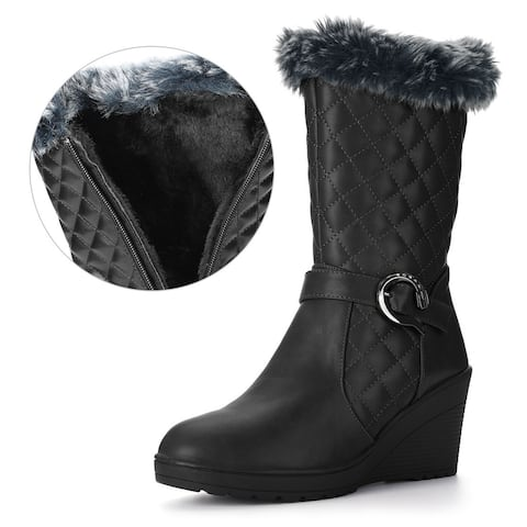 Women Buckled Strap Plush Quilted Wedge Heel Mid-Calf Boots