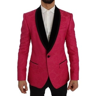 Dolce & Gabbana Pink Floral Brocade Slim Blazer Jacket