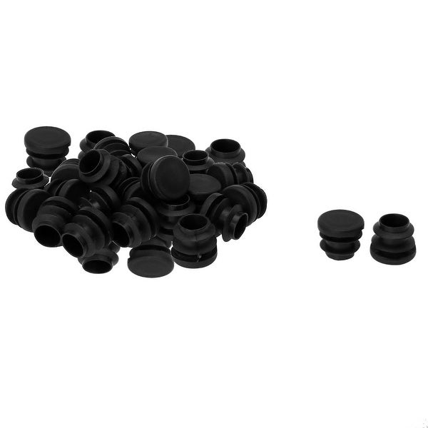 """5/8"""" 16mm OD Plastic Round Tube Ribbed Inserts End Cover Caps 34pcs, 0.51""""-0.6"""" Inner Dia, Floor Furniture Chair Desk Protector"""