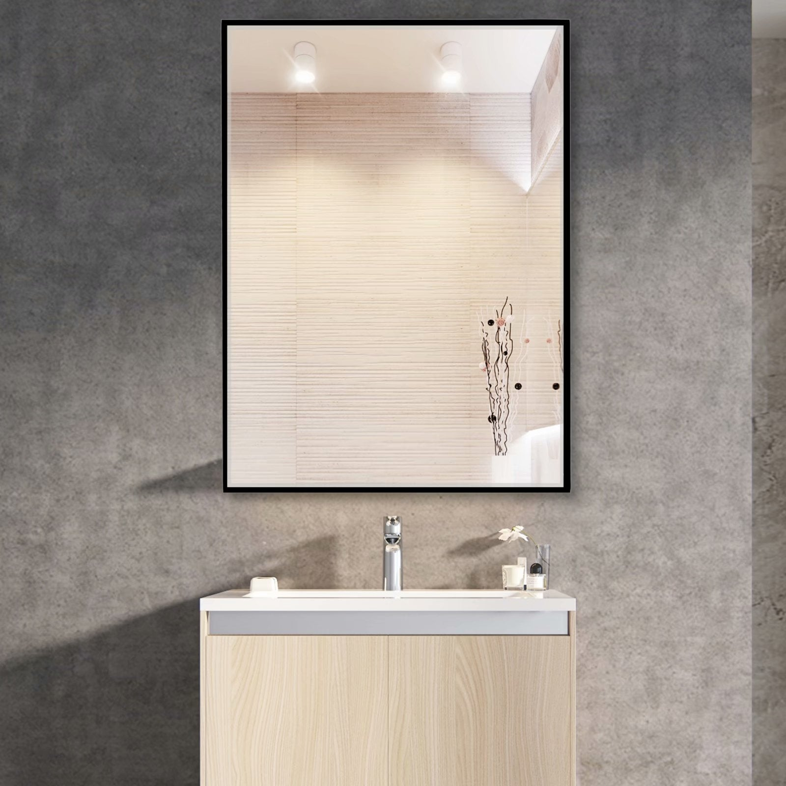 Modern Large Black Rectangle Wall Mirrors For Bathroom Vanity Mirror Overstock 32012951
