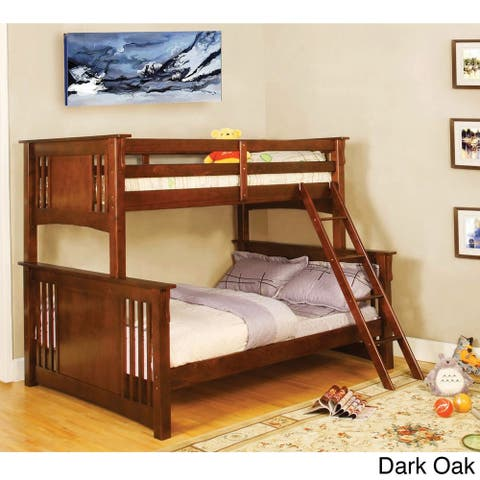 Furniture of America Daan Traditional Twin/Full Solid Wood Bunk Bed