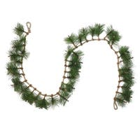 6' Long Needle Pine and Rope Rustic Christmas Garland - Unlit - green