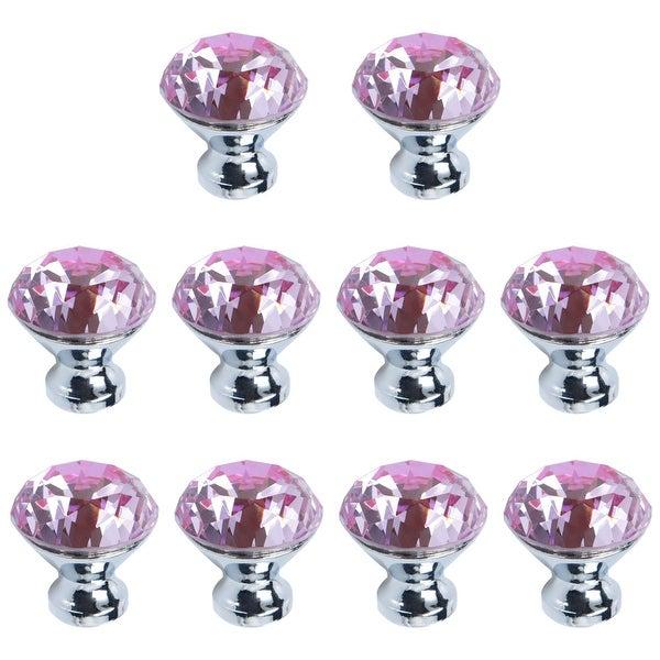 Crystal Knobs Wardrobe Dresser Knobs Pull Handle for Home Kitchen Drawer Cupboard 10pcs Pink