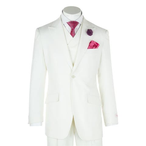 San Giovesse Offwhite Wide Leg, Pure Wool Suit & Vest by Tiglio Rosso