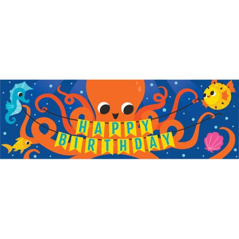 """Pack of 6 Blue and Orange Octopus """"HAPPY BIRTHDAY"""" Party Banners 60"""""""