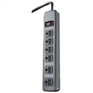 Woods 41386 Metal Power Strip with 6-Outlets & 5' Cord, Grey