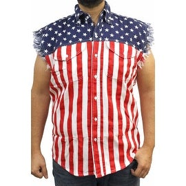 USA Flag Men's Sleeveless Denim Shirt Stars & Stripes Red White Blue Biker