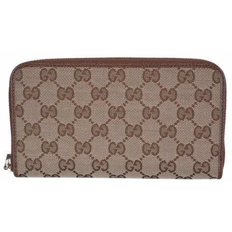 6f05476c0566 Gucci 363423 Women's GG Guccissima Canvas Zip Around Wallet Clutch - 7.75