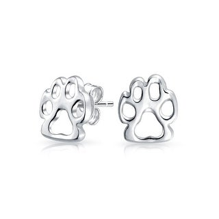 Bling Jewelry Cut Out Paw Print Animal Stud earrings 925 Sterling Silver 7mm