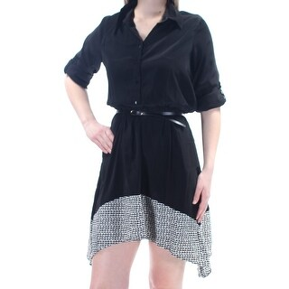 Womens Black Cuffed Above The Knee Fit + Flare Dress Size: M