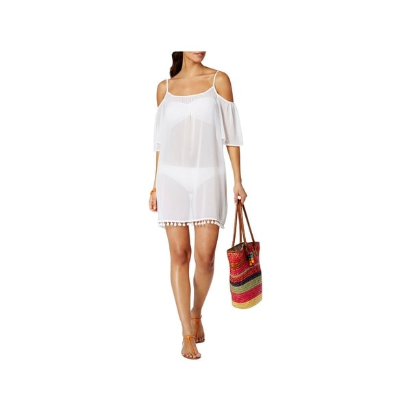 5e4a4e400c6d0 Shop Bleu by Rod Beattie Womens Sheer Off-The-Shoulder Dress Swim Cover-Up  White S - Free Shipping On Orders Over $45 - Overstock - 22696011