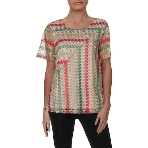 Alfred Dunner Womens T-Shirt Lace Overlay Short Sleeve