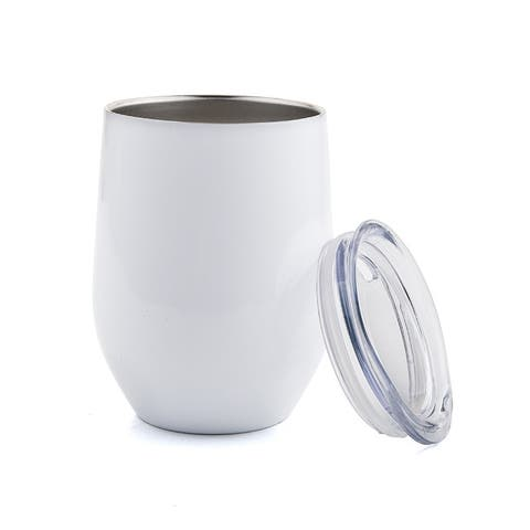12 OZ Stainless Steel Vacuum Insulated Double Wall Wine Tumbler with Lid Hot for 6 Hours Cold for 12 Hours White