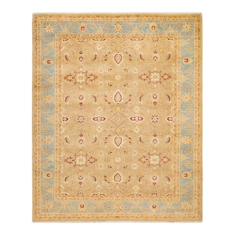 """Eclectic, One-of-a-Kind Hand-Knotted Area Rug - Yellow, 8' 1"""" x 9' 10"""" - 8' 1"""" x 9' 10"""""""