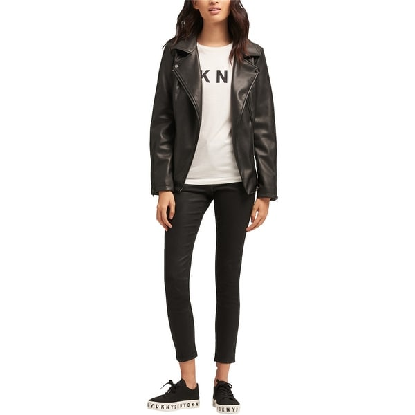 DKNY Womens Belted Faux-Leather Jacket, black, Medium. Opens flyout.