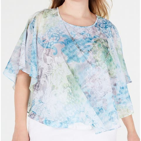 Alfred Dunner Womens Blouse Blue Size 20W Plus Floral Print Chiffon