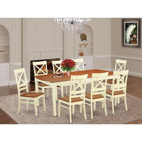DOQU9 Cream/Cherry Wood 9-piece Dining Room Set