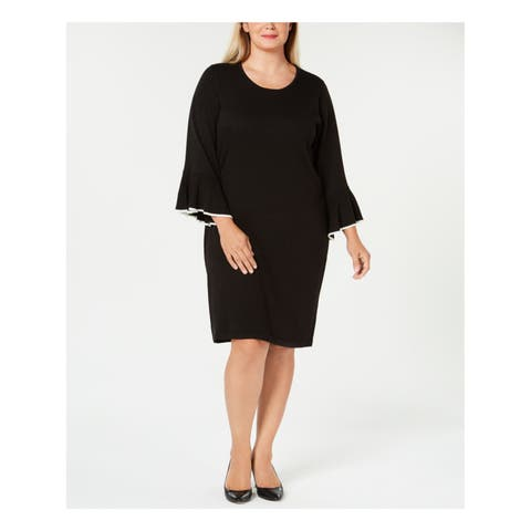 CALVIN KLEIN Womens Black Sweater Bell Sleeve Jewel Neck Knee Length Wear To Work Dress Plus Size: 3X