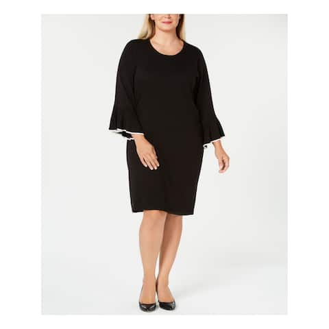 CALVIN KLEIN Womens Black Sweater Bell Sleeve Scoop Neck Knee Length Shift Cocktail Dress Plus Size: 1X