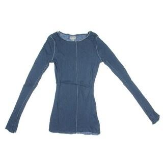 Free People Womens Modal Blend Long Sleeves Sleep Shirt