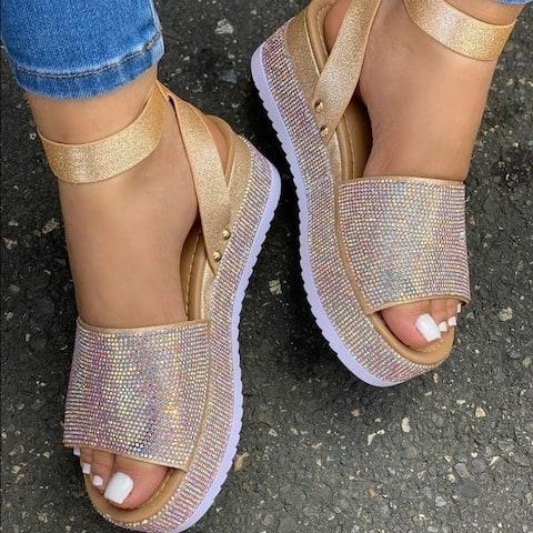 New Women's Platform Sequined Rhinestone Sandals
