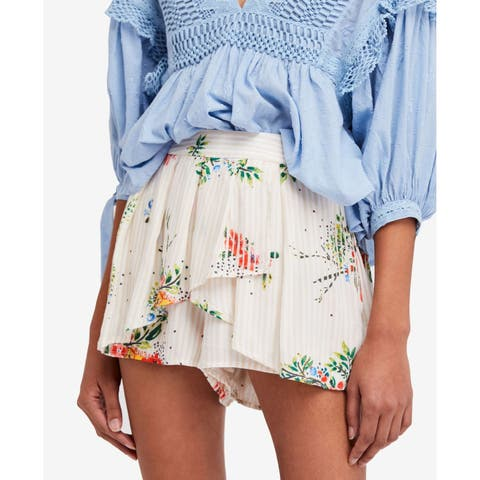 Free People Pink Womens Size Small S Striped Draped Floral Skorts